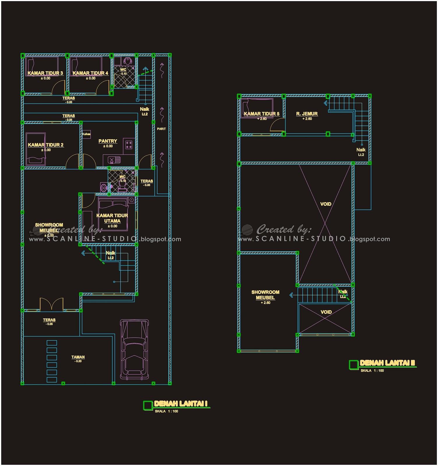 Pada area belakang merupakan area pribadi pemilik bangunan Berupa Kamar Tidur Pantry dan Ruang Jemur Alur sirkulasi juga disajikan terpisah dengan